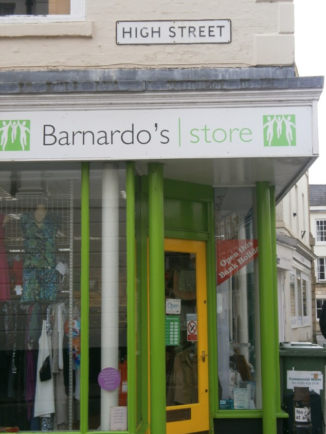 There's a very funky coloured Barnardos shop.