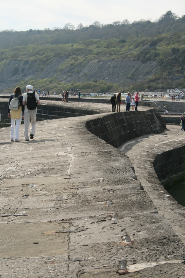 Walking along the Cobb, Lyme Regis