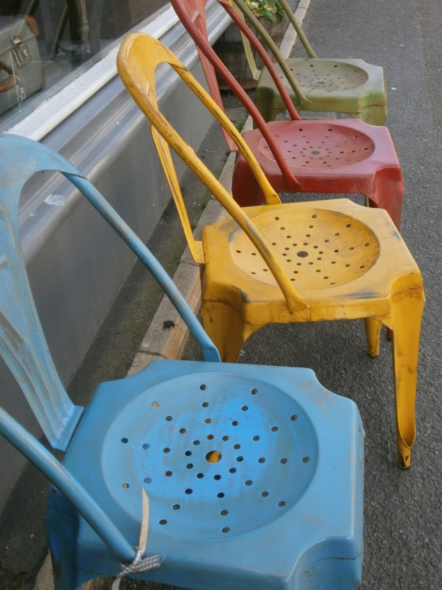 Paintbox inspired chairs outside Susie Cole