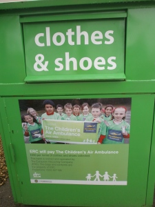 clothes donation bin via secondhandtales.wordpress.com