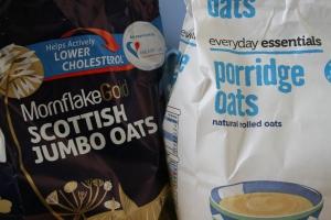Moonflake Jumbo Oats (1.5kg), 2.49 from Waitrose; Aldi Porridge Oats (1kg) 75p