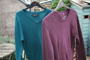Teal coloured jumper and burgundy long sleeve t-shirt