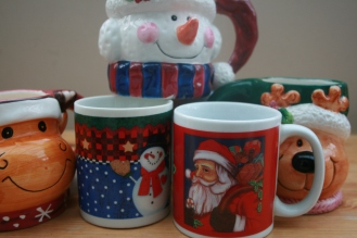 charity shop Christmas mugs