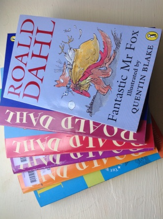 Charlie and the Chocolate Factory party: charity shop books as party thank yous