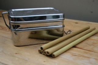 waste free travel: metal lunchbox and bamboo straws