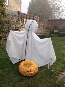 Halloween ghost using old fabric
