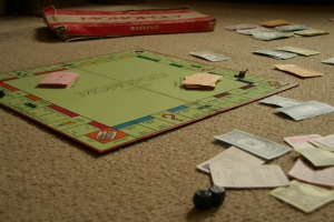 playing on old monopoly board