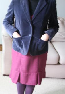 #secondhandfirst week: burgundy dress and blue velvet blazer