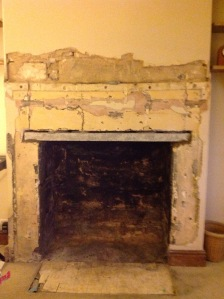 updating fireplace: during