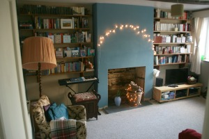 bookshelves, with our cosy reading corner