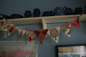 no sew Christmas card bunting
