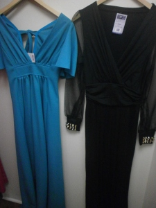 vintage 1970s outfits: blue evening dress and black jumpsuit