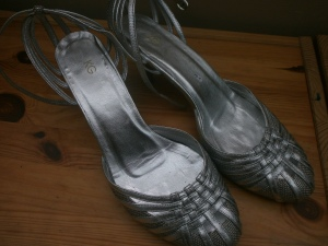 silver shoes from Oxfam