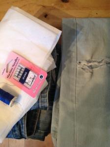 mending children's jeans