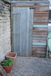 garden shed, made from two old sheds and fence panel