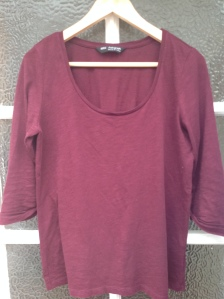 second-hand burgundy top