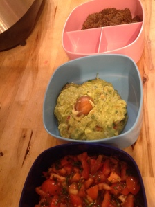 homemade guacamole, salsa, tapenade